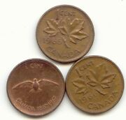 Canada 1965 1966 1967 One Cent Canadian Pennies Penny 1c Exact Set