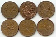 Canada 1964 1973 1974 1977 1981 1987 One Cent Canadian Pennies Penny 1c Set