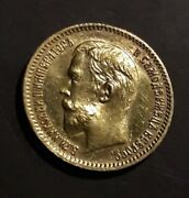 1909 Russian Impire Gold Coin 5 Rouble Ruble Roubles Russia