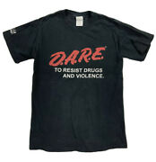 Vtg 1980's Dare Resist Drugs And Violence Black Red T-shirt Small Roseville Pd