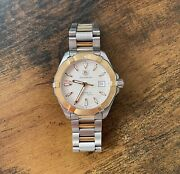Tag Heuer Aquaracer Quartz Mens Silver Steel And Yellow Gold Plated Watch