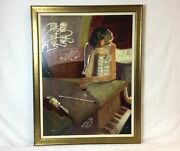 Hand Embelisshed Giclee By Impressionist Sabzi Woman Violin Piano Wine