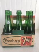 Vintage Fresh Up With 7up 6 Pack Cardboard Carrier With Glass Soda Pop Bottles