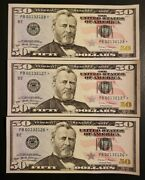 Lot Of 3 50 2017a Rare Star Note 160,000 Sheet Type Low Pb00132126 7 8  