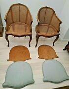 Vintage Set Of 2 French Louis Xvi Carved Cane Arm Chair