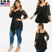 Plus Size Women Cold Shoulder Tunic Lace Mesh Long Sleeve Blouse Strappy Tops Us