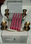 Partylite Quartet Candle Holder And 4 Unused Mulberry Unscented Dinner Candles
