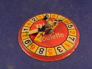 Vintage Rare Tin Toy Little Advertising Roulette Game Pilo French 1940s