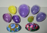 Large Plastic Easter Eggs Multiple Colors Fillable Lot Of 9 Assorted