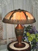 Antique Slag Glass 6 Panel Electric Table Lamp Marked Mlco
