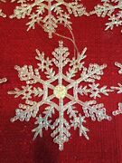 """10 Glitter Snowflakes Christmas Tree Ornaments Clear Frosted Holiday Frozen 4"""""""