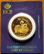 2018 Ec8 St. Lucia Gold 1 Oz. 10 Flamingos Proof - Mint Sealed In Assay Card