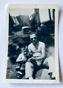 Father And Young Son Drinking Beer Toasting Camping Trip 1940s Bandw Photo Vintage