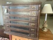 Antique 6-drawer Spool Cabinet J.s. P. Coats Country Store Cabinet