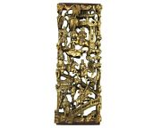 Antique Chinese 3d Gold Gilt War-field Scenery Wood Carved Carving Panel