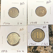 Lot Of 4 Vintage Austrian Coins - 1893, 1906, 1908 And 1960