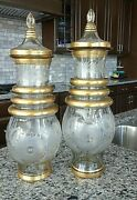 20 Antique Continental European Engraved Etched Cut Glass Covered Urns Vases