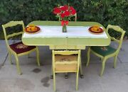 Vintage Drop Leaf Duncan Phyfe Style French Country Table 4 Rose Carved Chairs