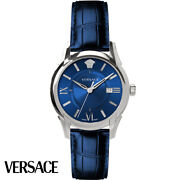 Versace Veua00220 Apollo Gent Silver Blue Leather Menand039s Watch New
