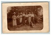 Vintage 1900's Rppc Postcard Portrait Family In Garden Women With Large Hats