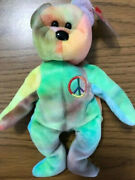 Ty Beanie Baby Peace Bear 1996 Retired Mint Condition With Rare Tag Errors Pe