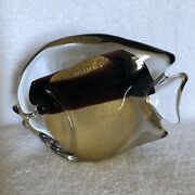 Vintage Art Glass Murano Fish Signed On The Bottom. Maroon And Gold