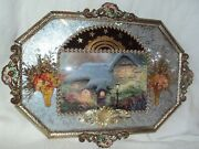 Antique Ornate Convex Bubble Glass Metal Picture Frame Dried Flowers