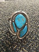 Vintage 3-1/8andrdquo 2-1/8andrdquo Face Navajo Sterling Silver Turquoise Cuff Bracelet 140g