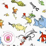 Celebrate Seuss 10790 204 White Kaufman Quilt Fabric Cat In The Hat