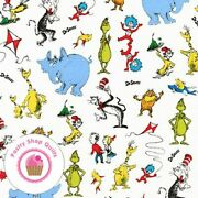 Celebrate Seuss 19061 1 White Kaufman Quilt Fabric Cat In The Hat