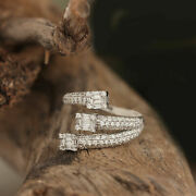 Pave Natural Diamond Solid 18k White Gold Wrap Ring Fine Jewelry New Collection