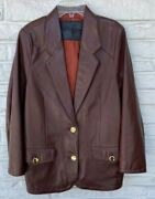 Outrigger Burgundy Leather Blazer Size 46 It Fits Like A 6 Or 8 Us