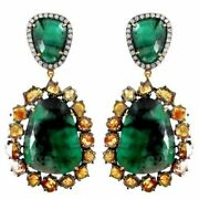 Color Diamond 10.23 Ct .925 Silver Pave Emerald Dangle Earrings 14k Gold Jewelry
