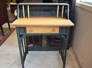 Vintage Small Green Wicker And Natural Wood Desk