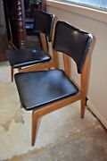 Mid Century Danish Modern Walnut Black Upholstered Side Chairs A Pair