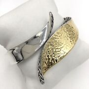 John Hardy Sterling Silver And 18k Yellow Gold Wave Hinged Bangle Bracelet 6.75