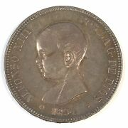1891 Pg M Spain 5 Peseta Infant Alfonso Silver Coin - High Quality Scans D013