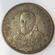 1912 Nicaragua Cordoba Silver Coin - Full Detail - High Quality Scans D016