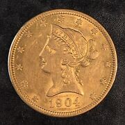 1904-o 10 Gold Liberty Head -nice Details And Luster - High Quality Scans D614