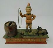 Vintage Cast Iron Mechanical Coin Bank Trick Dog Working Jumping Through Hoop