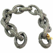 Sterling Silver 17.68ct Pave Diamond Link Chain Bracelet 14k Gold Jewelry 7.5in.
