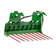 Titan 72-in Tine Bucket Attachment With 49-in Hay Bale Spears Fits Jd