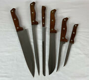 Lot Of 6 Vtg Usa Kitchen Knives Wood Handles Mighty Oak By Imperial And Flint