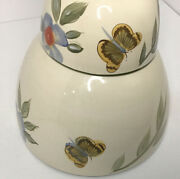 A Set Of 2 Pfaltzgraff Everyday Garden Butterfly Mixing Bowls