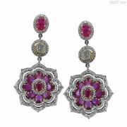 Solid 18 K White Gold Ruby Gemstone Dangle Earrings Pave 2.37 Ct Diamond Jewelry