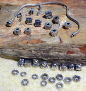 Pandora Retired And Rare 925 Ale Sterling Silver Bracelet 7-3/4 Charms And Spacers