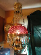 B And H Cranberry Hobnail Opalescent Brass Hanging Electrified Oil Lamp Vintage