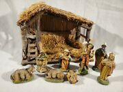 Vintage Italian Nativity Set With 8 Figures Wooden Creche Manger Made In Italy