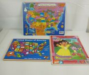 Lot Of 3 Kids Puzzles - Wooden States Puzzle - Dora The Explorer - States 35