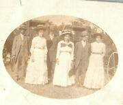 Vintage 1900's Rppc Postcard Portrait Well Dressed Couples And Big Hats